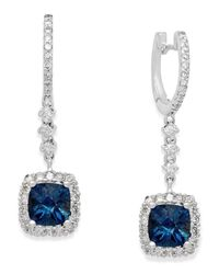 Macy's | Blue Topaz (3-1/5 Ct. T.w.) And Diamond (3/4 Ct. T.w.) Drop Earrings In 14k White Gold | Lyst