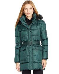 Lauren by Ralph Lauren Blue Faux Fur Trim Belted Down & Feather Fill Coat