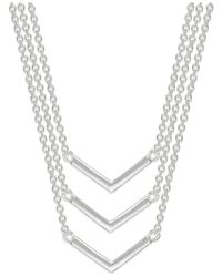 Lauren by Ralph Lauren | Metallic Silver-Tone Three Row V-Shaped Layered Pendant Necklace | Lyst