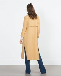 Zara | Yellow Long Coat | Lyst