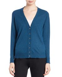 Eileen Fisher - Blue Button-front Wool-blend Cardigan - Lyst