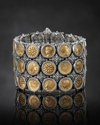 Konstantino | Metallic Silver & Bronze Wide Coin Bracelet | Lyst