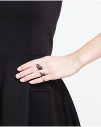 Gaydamak | Black Oxidised Gold And Diamond Three Finger Leaf Ring | Lyst