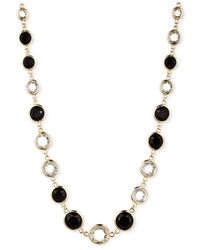 Anne Klein | Black Gold-tone Jet Stone And Crystal Collar Necklace | Lyst