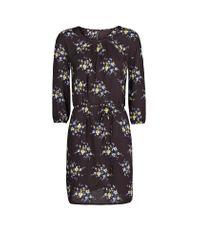 Mango - Black Floral Print Flowy Dress - Lyst
