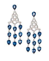 John Hardy | Classic Chain London Blue Topaz Diamond Sterling Silver Knot Chandelier Earrings | Lyst