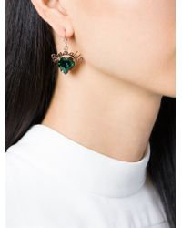 Mawi - Green 'emerald Slogan' Heart Earrings - Lyst