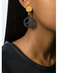 Moschino - Black Peace Sign Clip-on Earrings - Lyst