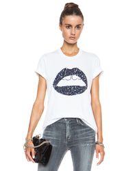 Markus Lupfer - White Graphic Lara Lip Sequin Cotton Tee - Lyst