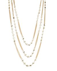 Lord & Taylor - Metallic Three Row Charm Necklace - Lyst