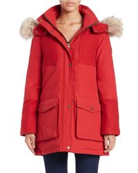 Pendleton | Red Coyote Fur-trimmed Parka | Lyst