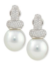 Belpearl | Avenue Diamond & White Pearl Earrings | Lyst