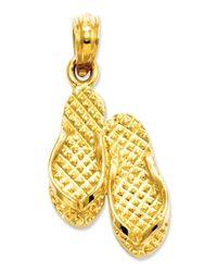 Macy's - Metallic 14k Gold Charm, 3d Myrtle Beach Flip-flops Charm - Lyst