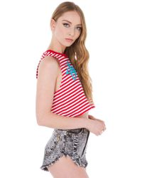 Stussy | Blue Red Cropped Muscle Tee | Lyst