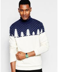ASOS - Blue Christmas Roll Neck Jumper With Cashmere for Men - Lyst