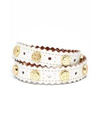Tory Burch - White Perforated Leather Wrap Bracelet - New Ivory/ Shiny Gold - Lyst