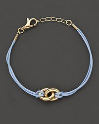 Faraone Mennella | Small 18 Kt Gold and Blue Leather Nodi Bracelet | Lyst