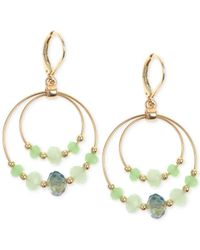 Jones New York | Gold-tone Mint Green Bead Double Orbital Drop Earrings | Lyst