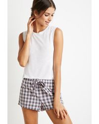 Forever 21 | Pink Drawstring Gingham Pj Shorts You've Been Added To The Waitlist | Lyst