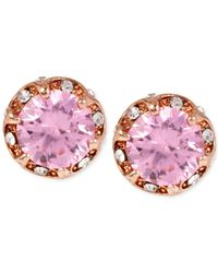 Betsey Johnson | Rose Gold-tone Pink Crystal Stud Earrings | Lyst