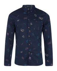Paul Smith | Blue Navy Dream Print Brushed Cotton Shirt for Men | Lyst