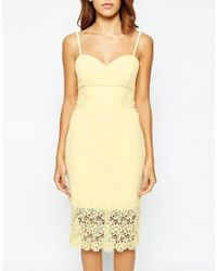 Lipsy | Yellow Michelle Keegan Loves Lace Detail Cami Pencil Dress | Lyst