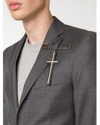 Givenchy | Gray Crucifix Brooch | Lyst