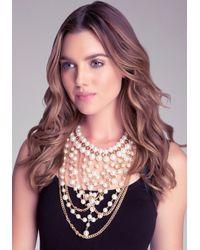 Bebe - Metallic Pearl Bib Necklace - Lyst