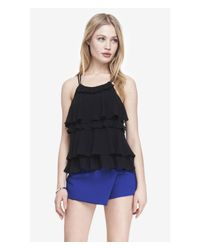 Express - Black Ruffle Front Halter Cami - Lyst