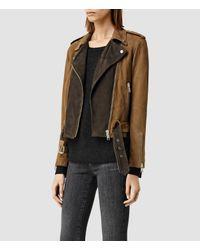 AllSaints - Brown Hyland Biker Jacket - Lyst