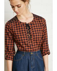 Forever 21 | Orange Plaid Lace-up Shirt | Lyst