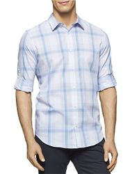 Calvin Klein | Blue Plaid Roll-tab Sportshirt for Men | Lyst