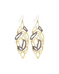 Alexis Bittar - Metallic Crystal-Embellished Lacy Leaf Earrings - Lyst