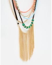 ASOS - Multicolor Mixed Seedbead & Chain Necklace - Lyst
