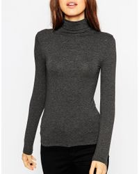 ASOS - Gray The Polo Neck With Long Sleeves - Lyst