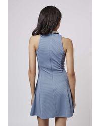 TOPSHOP - Blue High Neck Embellished Skater Dress - Lyst