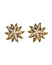 Emily & Ashley | Metallic White Diamond Starburst Stud Earrings | Lyst