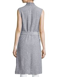 Nicholas - Gray Sleeveless Wrap Long Vest - Lyst