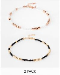ASOS | Multicolor Pack Of 2 Pretty Bead Anklets | Lyst