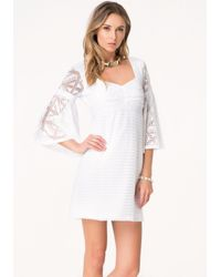 Bebe - White Sharon Bell Sleeve Dress - Lyst