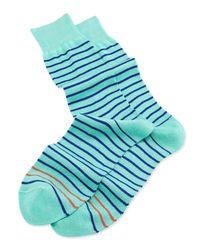 Paul Smith   Green 2stripe Knit Socks Mint for Men   Lyst