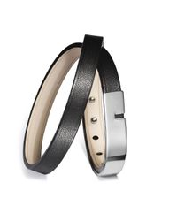 Ursul | U-turn Twice Black Steel And Double Leather Medium Bracelet for Men | Lyst