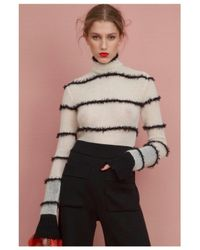 Veronique Leroy | White Mohair Striped Bodysuit | Lyst