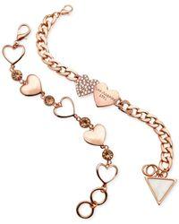 Guess - Pink Heart Charm Bracelet Set - Lyst