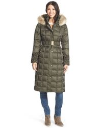 Betsey Johnson | Green Faux Fur Trim Hooded Long Puffer Coat | Lyst