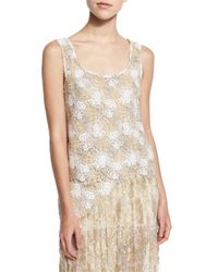Oscar de la Renta - Metallic Sleeveless Scoop-neck Lace Top - Lyst