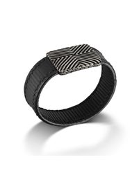 John Hardy | Wide Station On Black Stripe Leather Bracelet With Black Oxidation for Men | Lyst