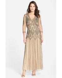 Pisarro Nights - Brown Embellished Mesh Dress & Jacket - Lyst