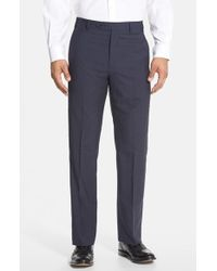 Zanella | Blue 'todd' Flat Front Check Wool Trousers for Men | Lyst