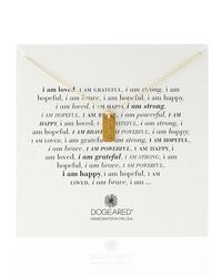 Dogeared - Metallic Gold-Dipped I Am Grateful Dogtag Necklace - Lyst